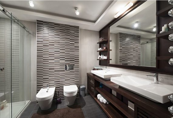 modern large white bathroom with wooden shelves