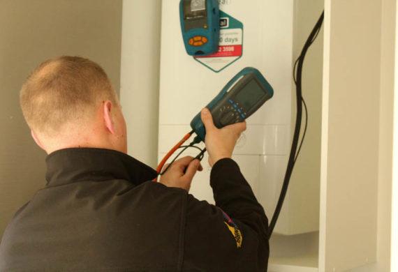 gaslec heating engineer hooking up boiler repair measurement equipment