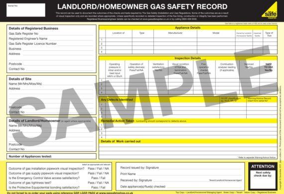 landlords gas safety register certificate sample