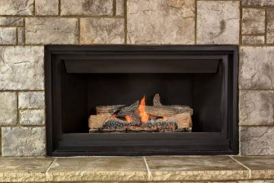 domestic gas fire with stone slap finish